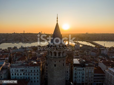 istock Aerial view galata tower with Golden Horn istanbul.  aerial view of istanbul city 1304540746