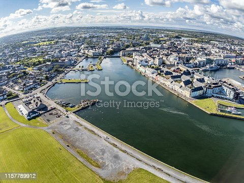 Aerial view Galway Pier and Corrib river, Galway, Ireland