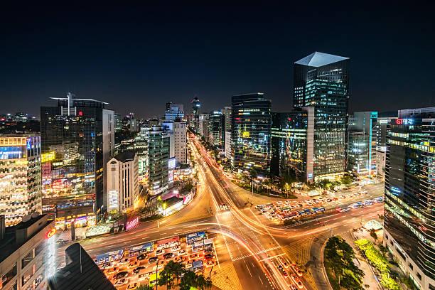 aerial view gangnam at night seoul korea - subway foto e immagini stock