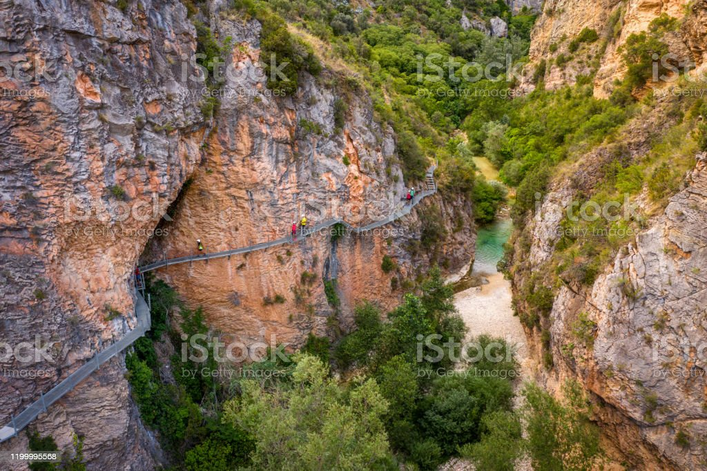 aerial view Gangway over Vero River in Alquezar, Huesca, Spain aerial view of the Gangway over Vero River in Alquezar, Huesca, Spain Aerial View Stock Photo