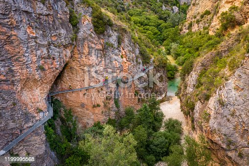 aerial view of the Gangway over Vero River in Alquezar, Huesca, Spain