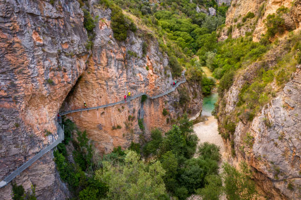aerial view Gangway over Vero River in Alquezar, Huesca, Spain stock photo