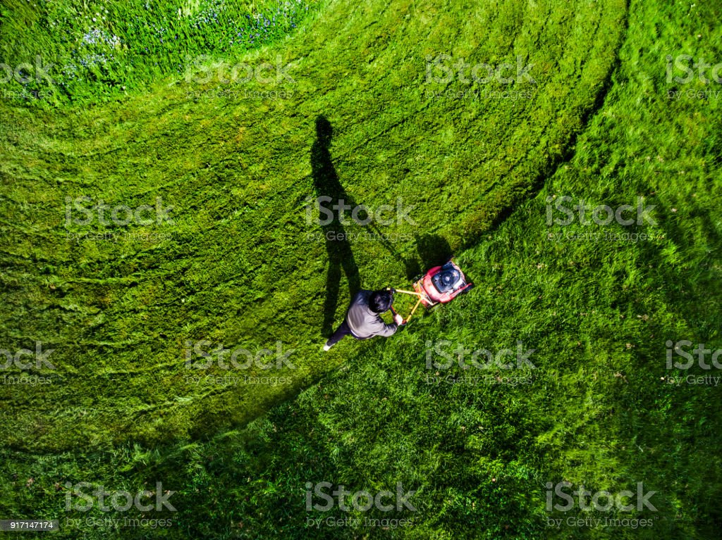 Aerial View Grass Trimming Lawnmower stock photo