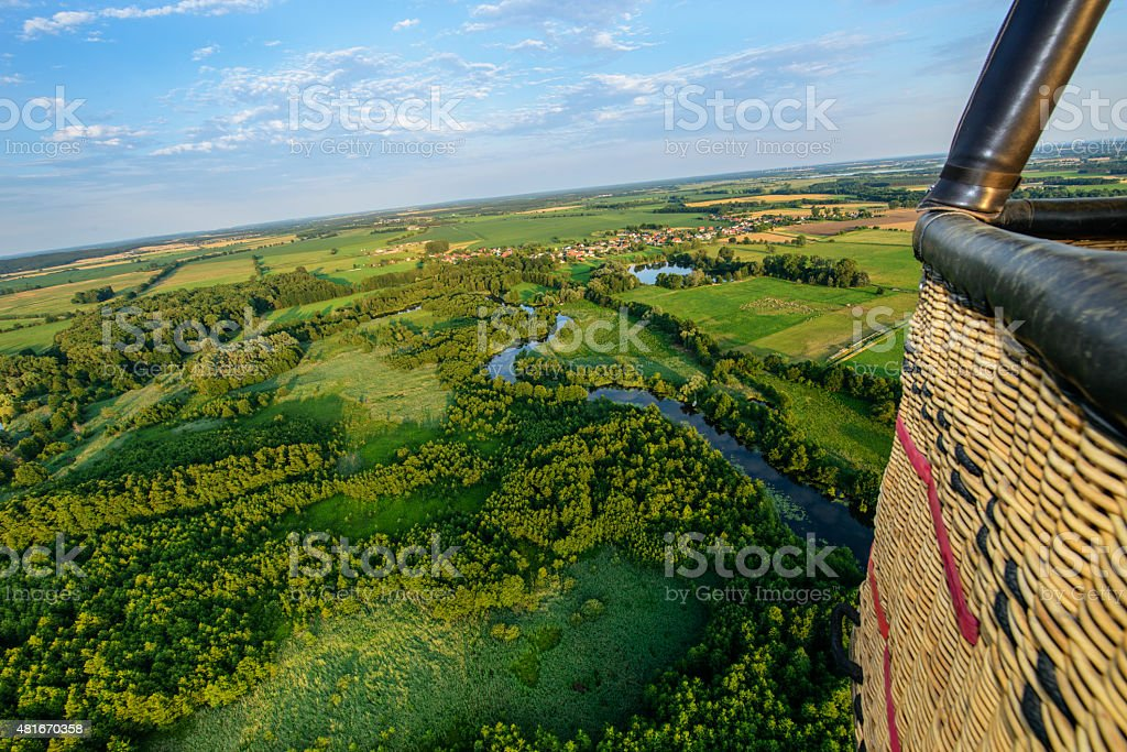 Aerial view, green summer landscape, balloon basket stock photo