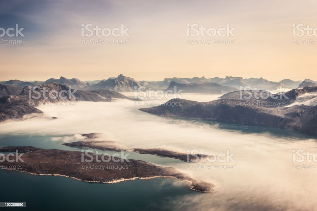 Aerial View Greenland Fjord Coast stock photo