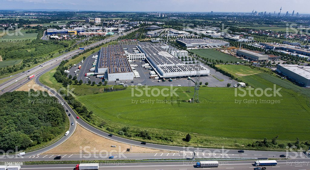 Aerial view Grossmarkthalle Frankfurt and highway A5 stock photo