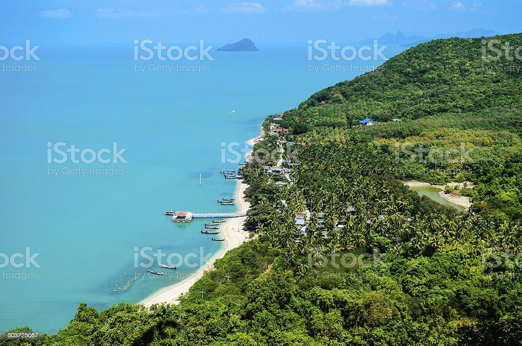 Aerial view harbor on Nokpao Island (kohnokpao). stock photo