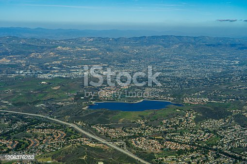 istock Aerial View high above Bard Lake in Simi Valley, California 1206376253