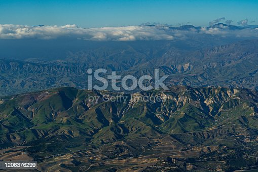 Aerial View high above Camarillo California looking at mountains to the east