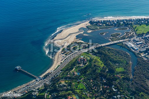 A view high above Malibu Point, Malibu beach, Malibu Pier and Malibu Lagoon State Beach above Pacific Coast Highway PCH