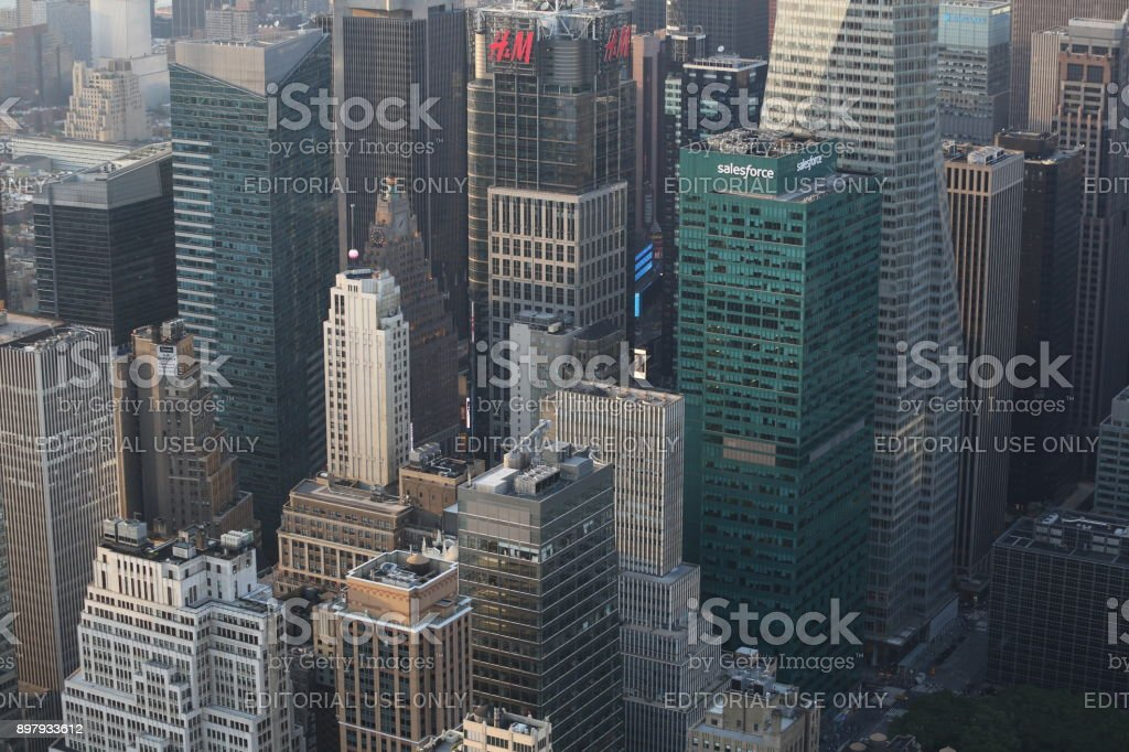 Aerial view high buildings. America, New York City - May 13, 2017 stock photo