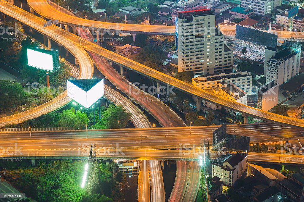 Aerial view highway interchanged Lizenzfreies stock-foto