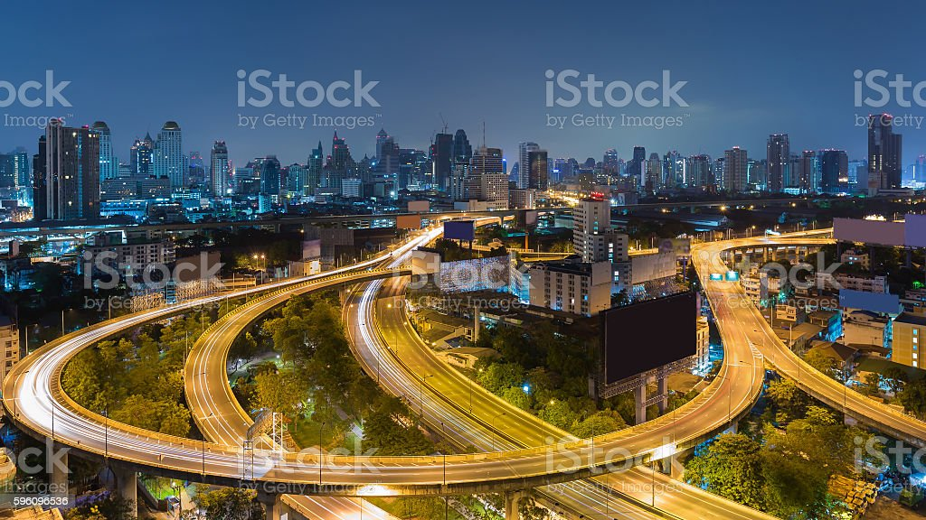 Aerial view highway interchanged with city downtown background royalty-free stock photo