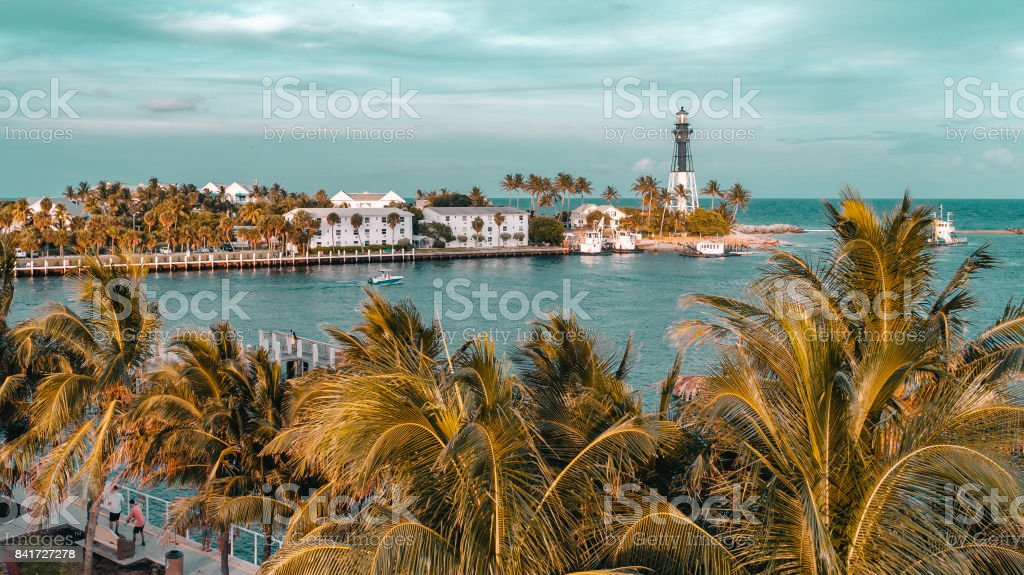 Aerial View Hillsboro Inlet Lighthouse stock photo