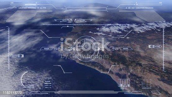 istock Aerial view HUD digital futuristic surveillance monitor screen display. 1152113272