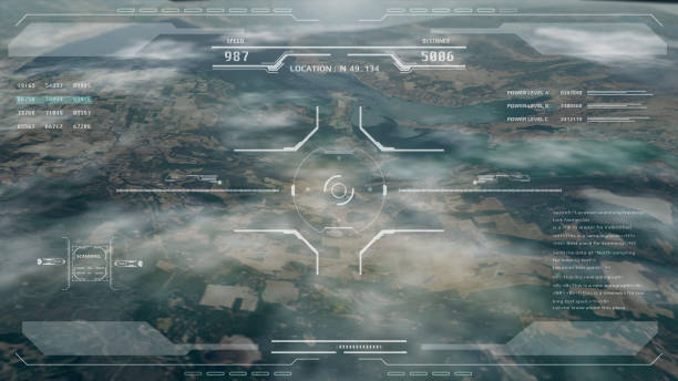 Aerial view HUD digital futuristic surveillance monitor screen display. Aerial view HUD digital futuristic surveillance monitor screen display. Hi technology satellite crosshairs target flying scanning for security mission UAV attack imitation inspiration concept. battlefield stock pictures, royalty-free photos & images