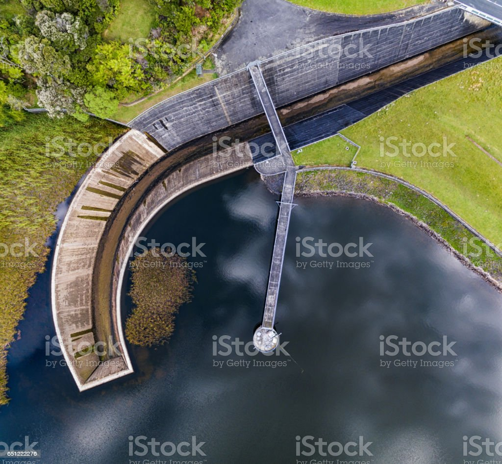 Aerial View Huia Dam. stock photo