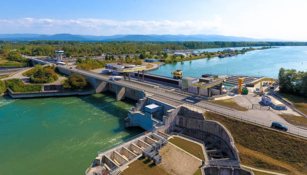 Aerial view: hydropower - Iffezheim, Baden-Württemberg stock photo