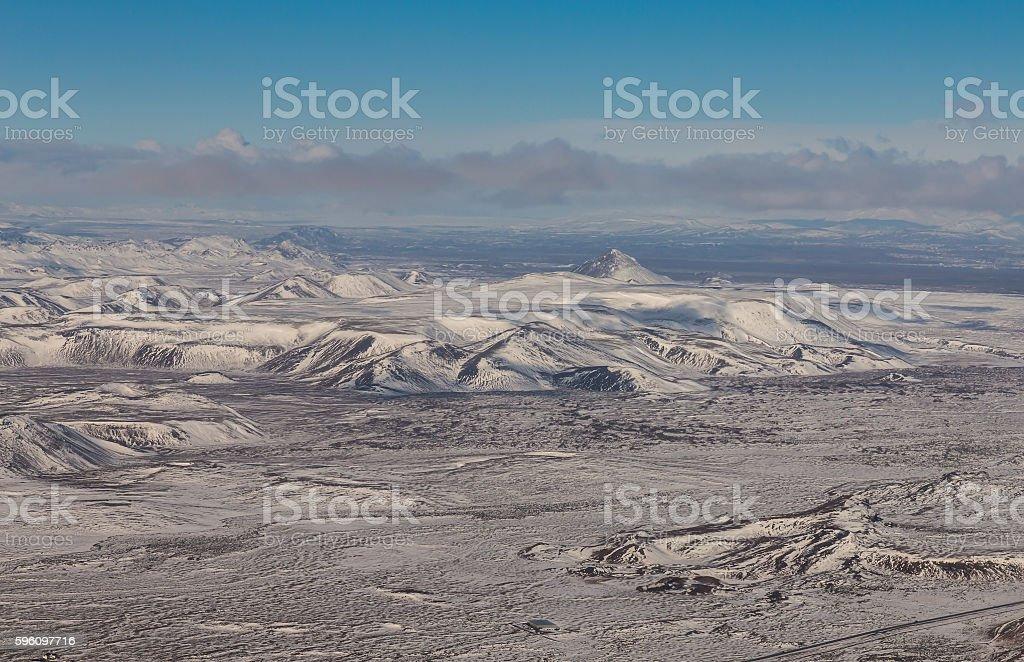 Aerial view Iceland mountain natural winter landscape Lizenzfreies stock-foto