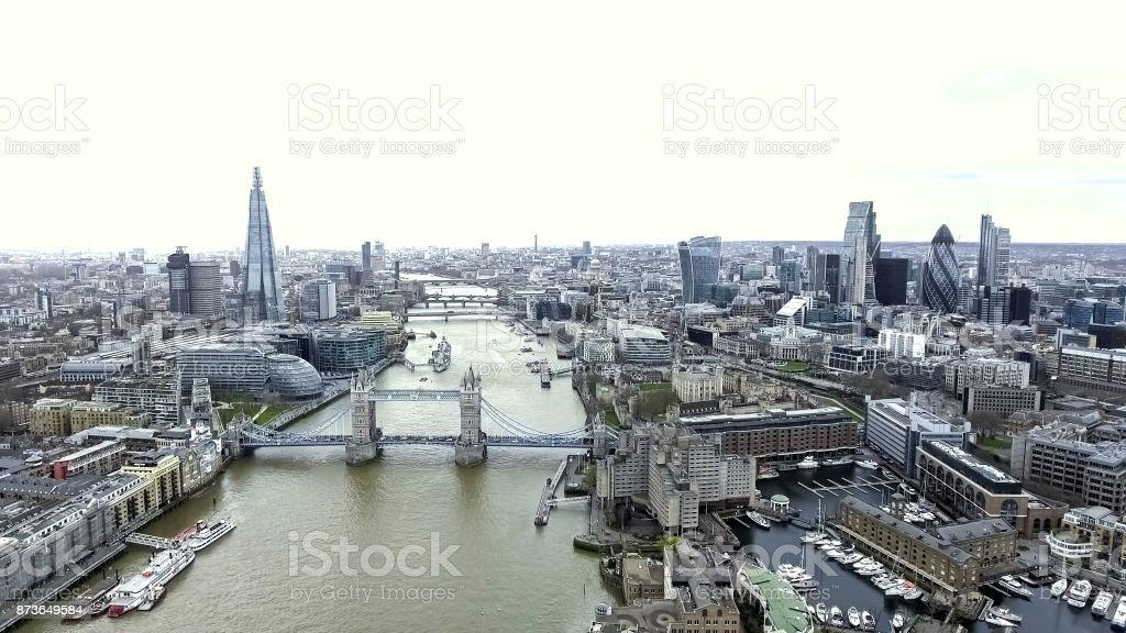 Aerial View Iconic Landmarks and Cityscape of London stock photo