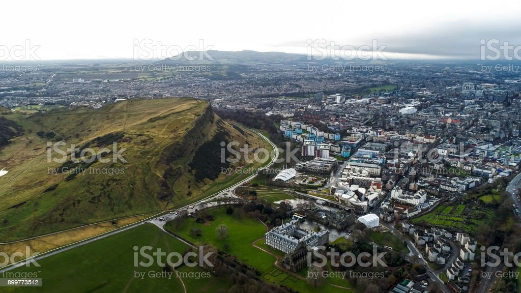 Aerial View Iconic Landmarks Arthur's Seat Hill in Edinburgh Scotland UK stock photo