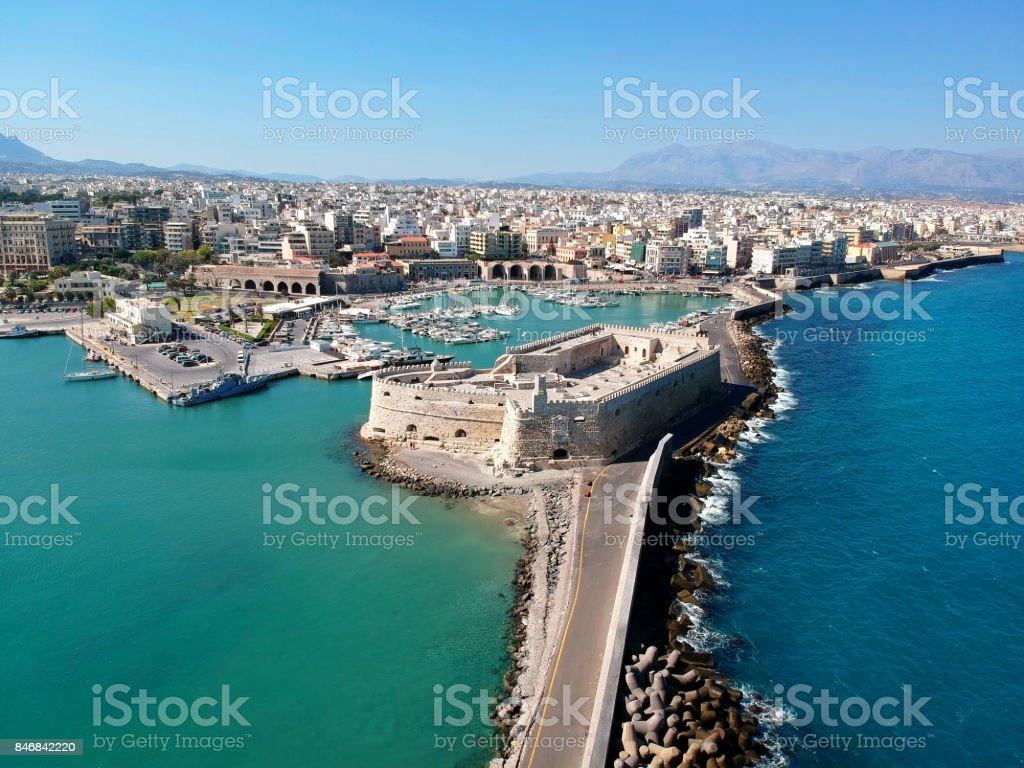 Aerial view if Iraklion, capital of Crete island stock photo
