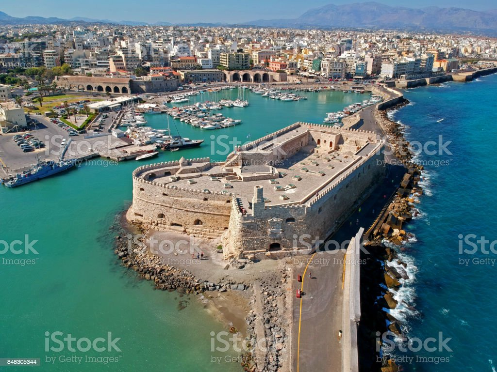 Aerial view if Iraklion, capital of Crete island stock photo