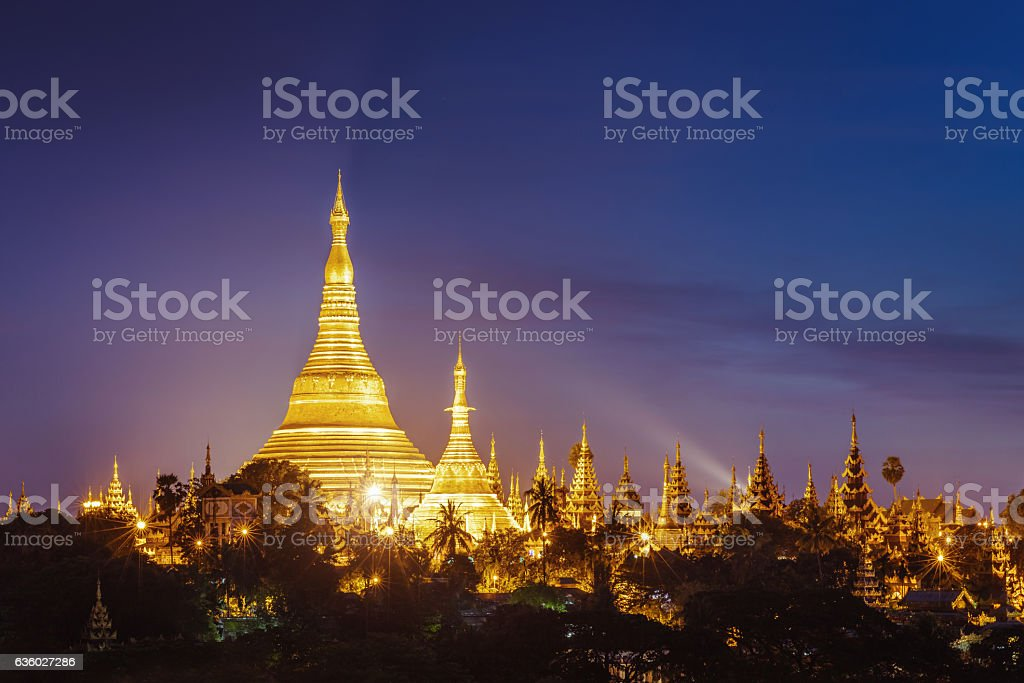 Aerial View Illuminated Shwedagon Pagoda at Night Yangon Myanmar stock photo