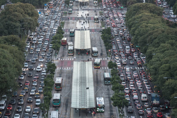 Aerial view in rush hour of Buenos Aires City stock photo