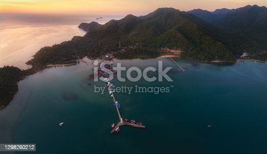 Aerial view (drone shot) in sunset at Bangbao Pier, Koh Chang, Thailand.
