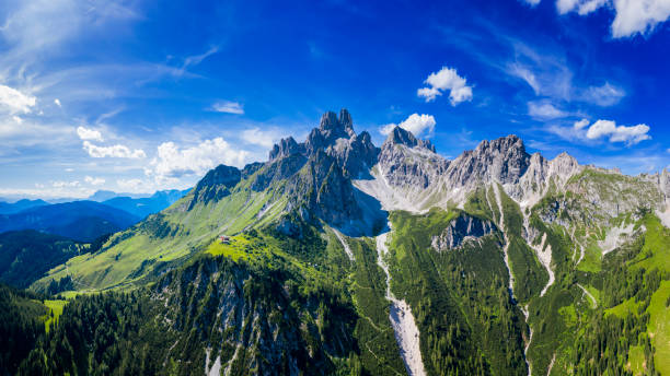 Aerial view in the Dachstein mountains with a view of the large Bischofsmütze – Foto