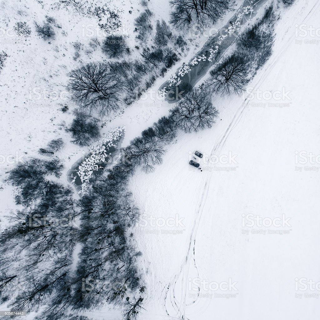 Aerial view in the winter landscape stock photo