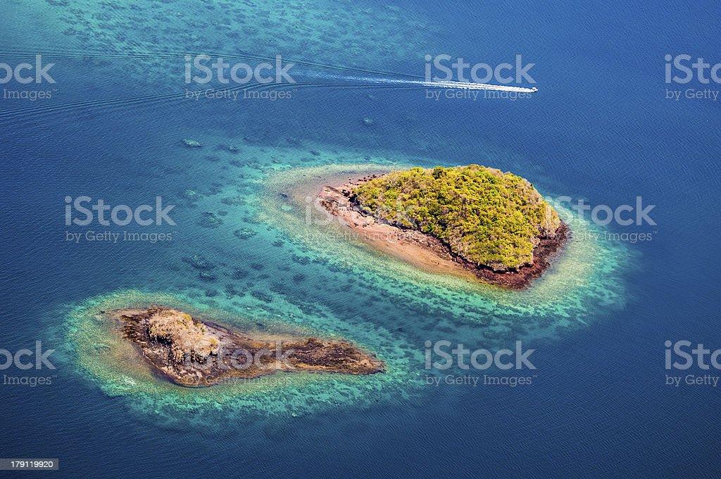 Veduta aerea, isola, la laguna corallina, Isola, vue aérienne, Mayotte - foto stock