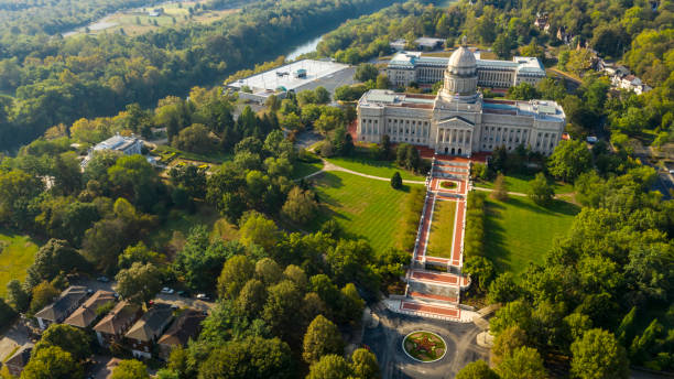 Aerial View Isolated on the State Capital Capitol Building Frankfort Kentucky stock photo