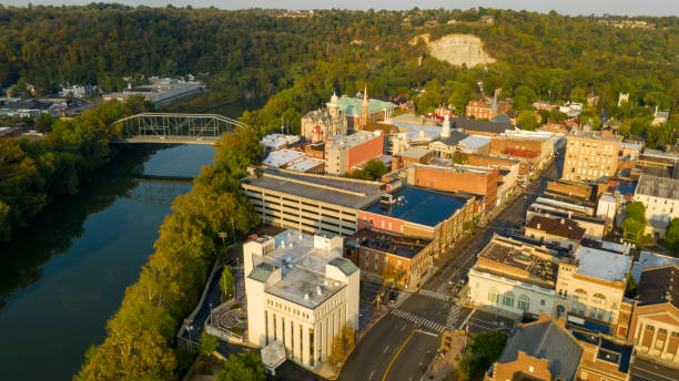 Aerial View Isolated on the State Capital City Downtown Frankfort Kentucky stock photo