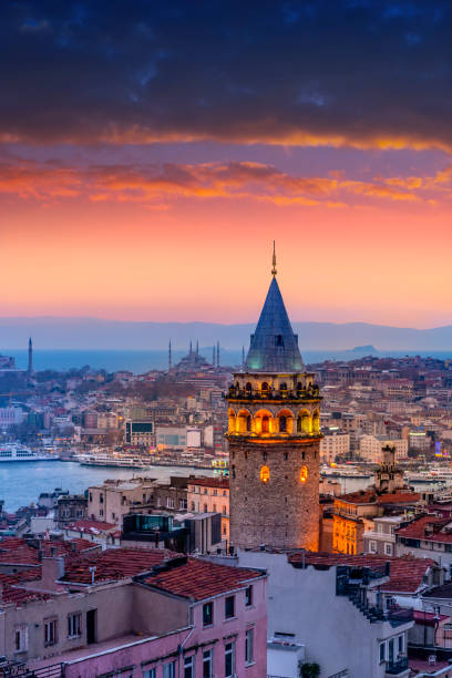 Aerial View Istanbul Aerial view Galata tower in Istanbul bosphorus stock pictures, royalty-free photos & images
