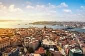 Aerial view Galata tower in Istanbul