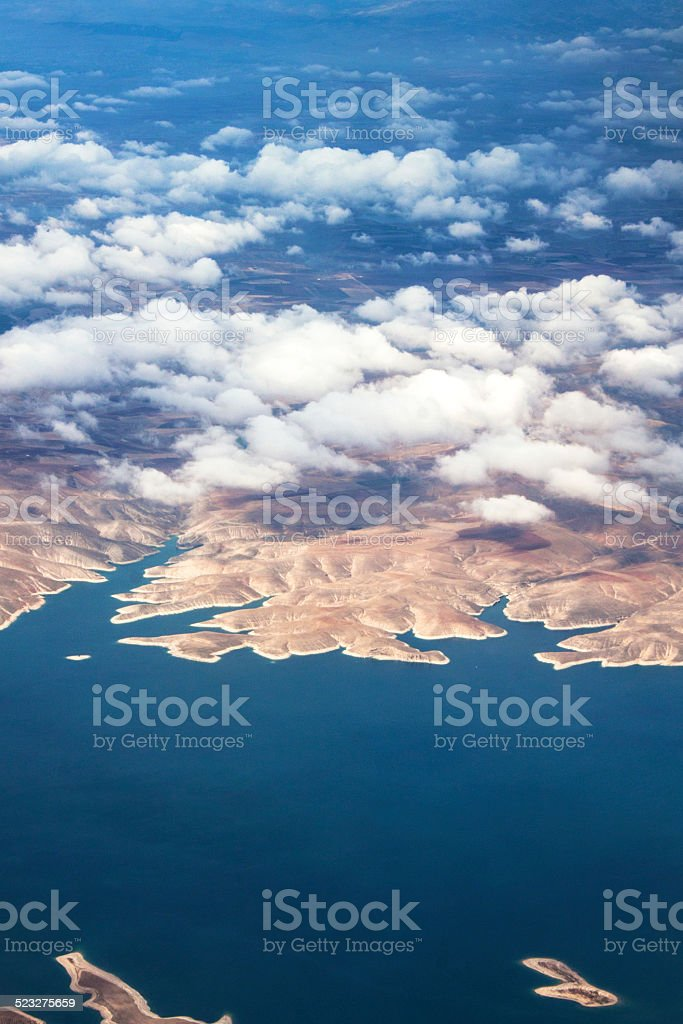Aerial view Istanbul sandy brown land and white clouds stock photo