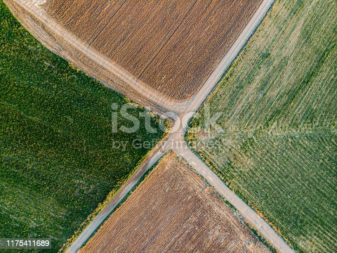 Aerial View Junction at Farming Areas