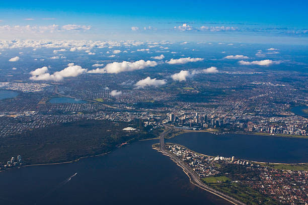 Aerial view Kings Park and South Perth with broken clouds stock photo