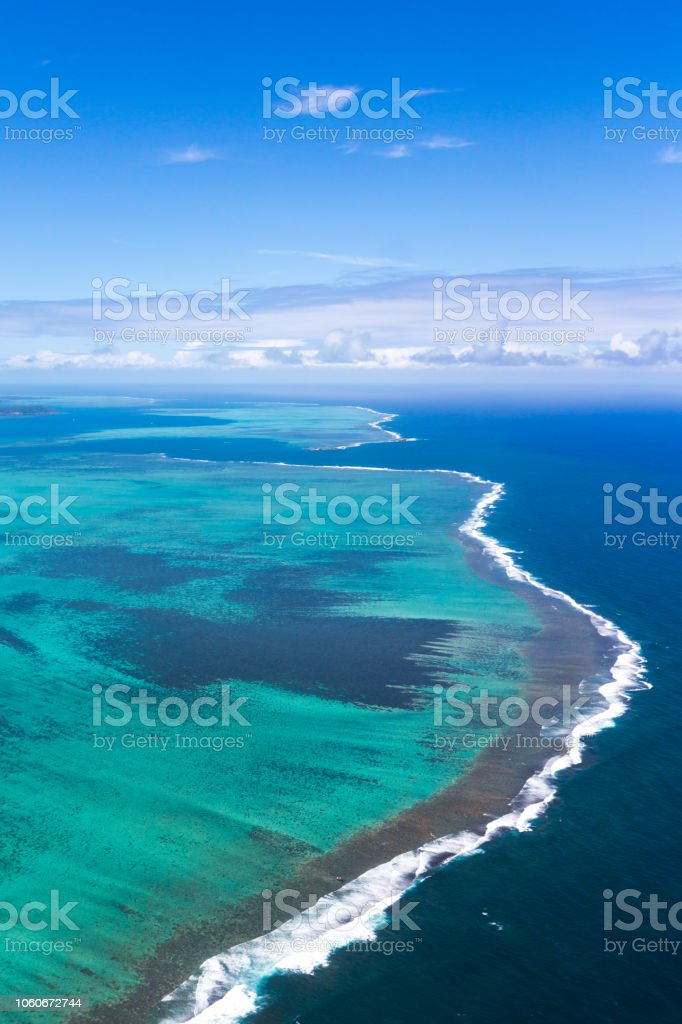 Luchtfoto lagune, mauritius foto