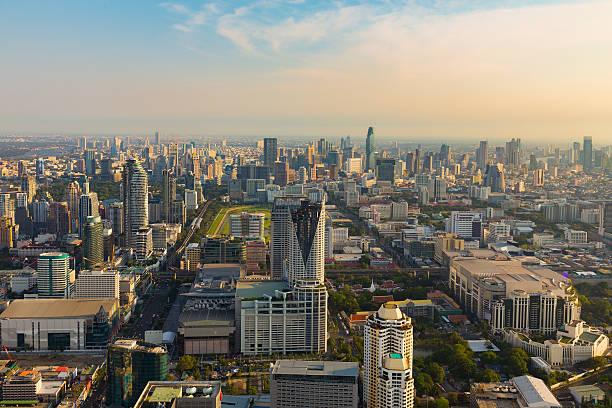Aerial view landscape, Bangkok city downtown圖像檔