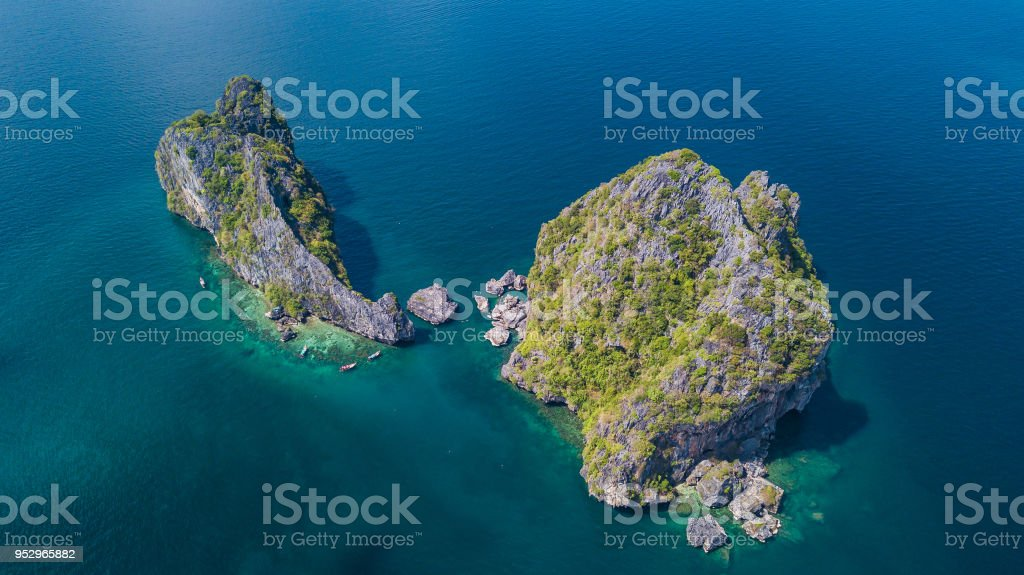 aerial view landscape of  Island. stock photo