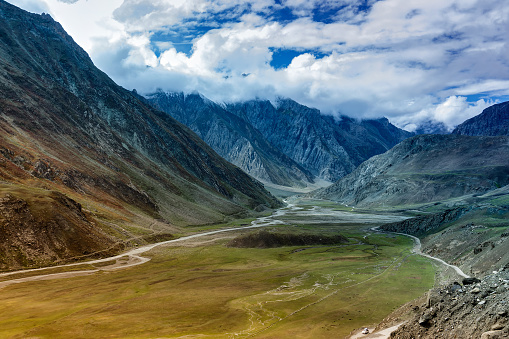 Aerial view, landscape of Ladakh, Jammu and Kashmir, India
