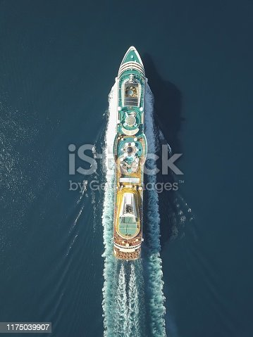 Aerial view large cruise ship at sea, Passenger cruise ship vessel, sailing across the Ksamil, Albania. View from drone.