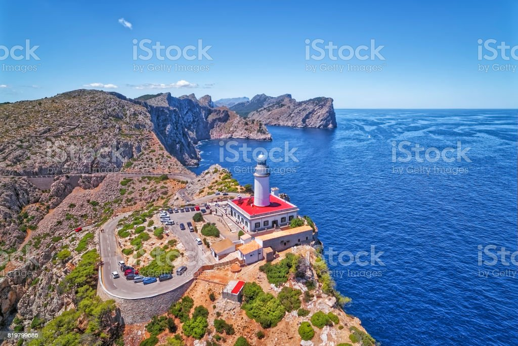 Aerial View lighthouse - Cap de Formentor (Seaside) and the famous cliffs of Balearic Islands Majorca / Spain stock photo