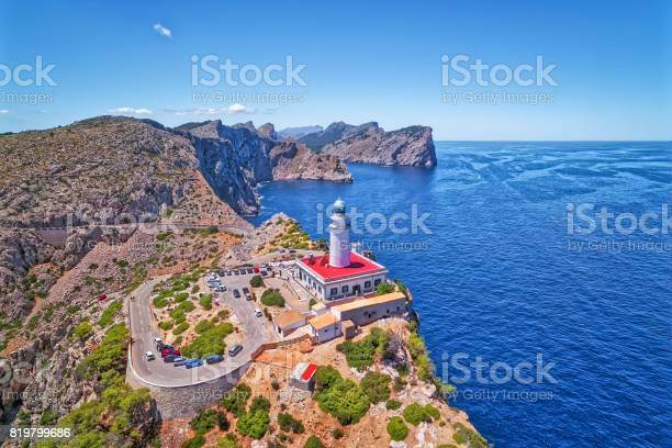 Photo of Aerial View lighthouse - Cap de Formentor (Seaside) and the famous cliffs of Balearic Islands Majorca / Spain