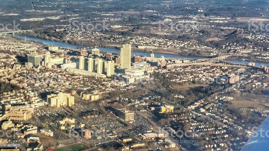 Aerial View, Little Rock Arkansas Capital City, Arkansas River stock photo