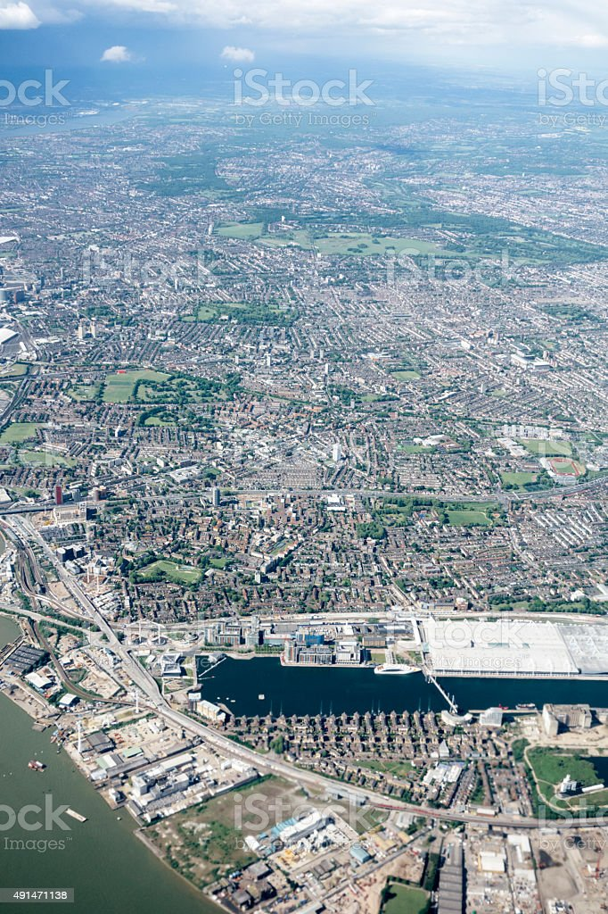 Aerial view London, Isle of Dogs and Millwall Outer Dock stock photo