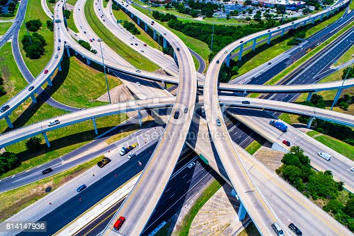 istock Aerial view looking down above Cross Over and Interchange Urban Sprawl Austin Texas Highway 183 and Mopac Expressway Interchange 814147936